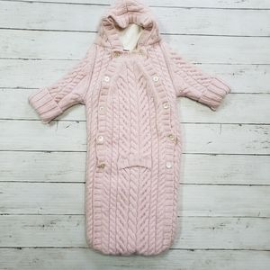 Land's End - Pink Cable Knit Wool Bunting Suit